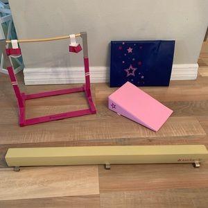 Gently used American girl doll gymnastics set